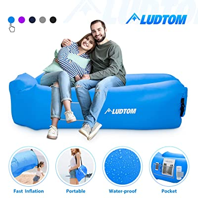 LUDTOM Inflatable Lounger Air Sofa Hammock, Portable Waterproof Anti-Air Leaking Pouch Couch Beach Chair Camping Accessories for Travel, Parties, Camping, Picnics, Hiking, Pool and Festival : Sports & Outdoors