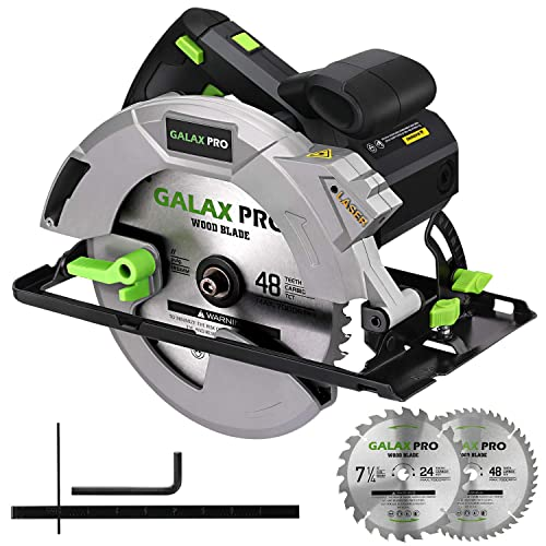 Circular Saw, GALAX PRO 15A 5300 RPM Corded Circular Saw, Bevel Angle 0-90 Cuts with 2Pcs TCT Blade 24T 48T plus 1 Allen Wrench, Aluminum Lower Guard for Wood and Logs Cutting