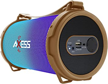 NEW Axess Vibrant Mini SPBL1043 HIFI Bluetooth Speaker w// Disco LED Lights BLACK