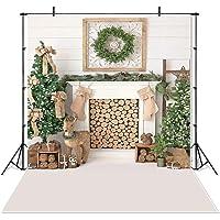 Mehofoto Christmas Tree Backdrop 7x5ft Vinyl Elk Green Tree Fireplace Photography Background Xmas Decor Portrait Backdrops
