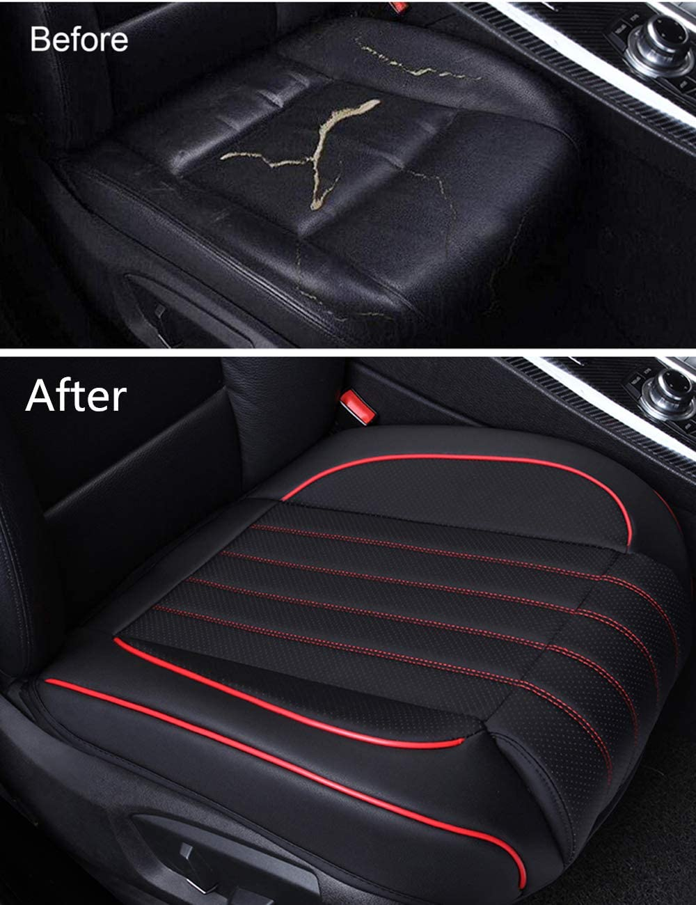 Luxury PU Leather Auto Front Driver Seat Cushion Ultra Comfortable Car Seat Bottom Protector,Suitable for More than 90/% Vehicles Models Ex Wind CN 2 Pack Universal Car Seat Cover beige