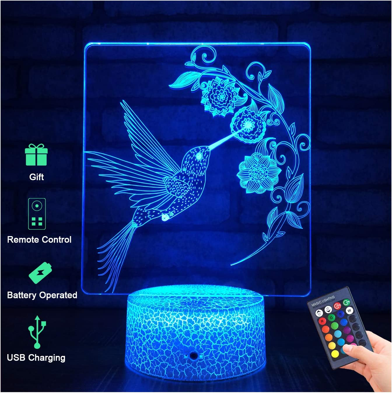 Menzee 3D Hummingbird Lamp, 3D Night Light for Kids with Remote Control & Smart Touch 7 Colors 16 Colors Changing Hummingbird Toys 10 9 3 5 2 8 1 7 6 4 Year Old Boy Girl Gifts