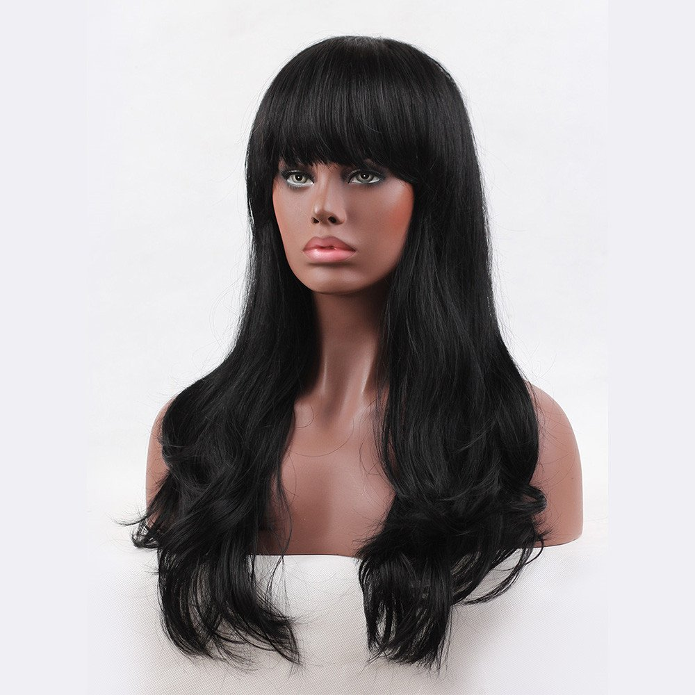 Amazon.com: WWQY Sports Human Hair Capless Wigs Human Hair Wavy Natural Wave Layered Haircut With Bangs Black Long Capless Wig Brazilian Hair Womens: ...