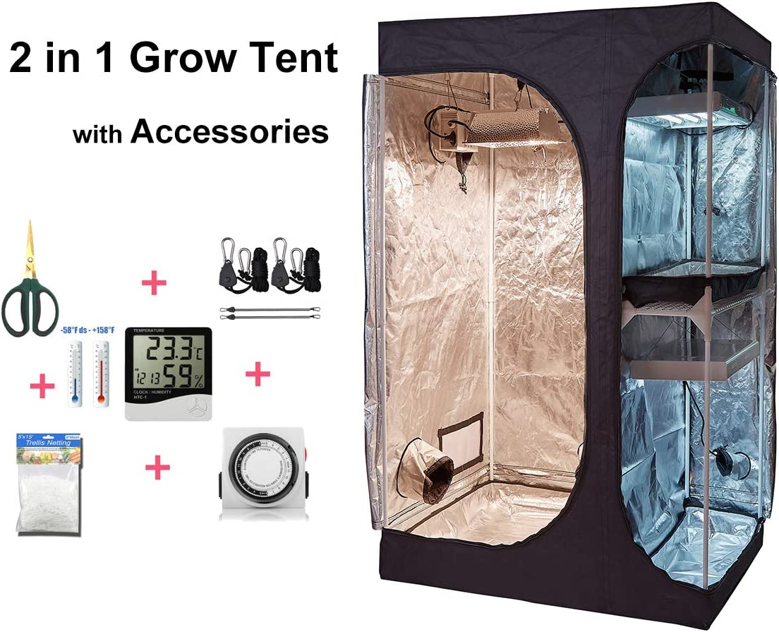 cdmall 60 x48 x80 2-in-1 Grow Tent Room w Waterproof Floor Tray Grow Light Hangers Digital Hygrometer 60mm Bonsai Shears 24 Hour Timer Trellis Netting 60 x48 x80 Tent Kit