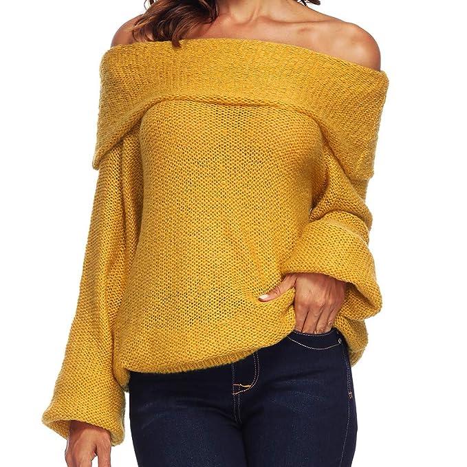 Luckycat Women Ladies Casual T-Shirt Long Sleevel Tops Blouse (Amarillo, Grande)