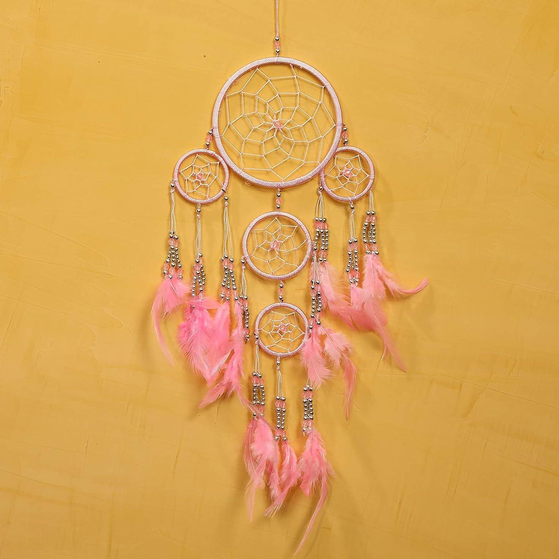 Pink Pineapple //// Atrapasue/ños Hecho a Mano con Cuentas de Plata 12 Cent/ímetros de Di/ámetro 35 Cent/ímetros de Largo Amarillo