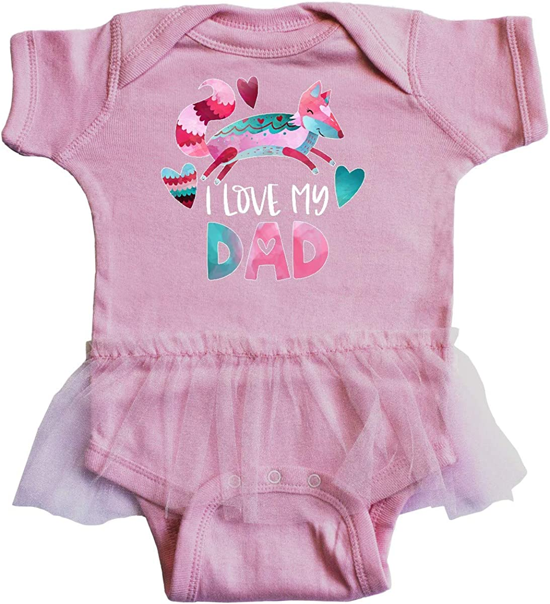 inktastic I Love My Dad Pink and Blue Fox with Hearts Infant Tutu Bodysuit