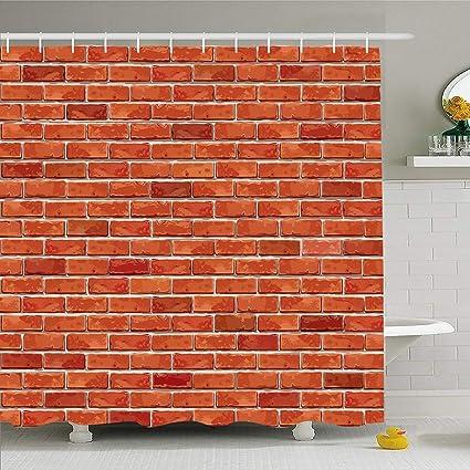 72x72/'/' Long Red Brick Wall Shower Curtain Bathroom Waterproof Fabric /& 12 Hooks