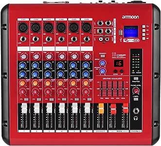 ammoon Mezclador de Audio Digital de 6 Canales Consola de Mezcla ...