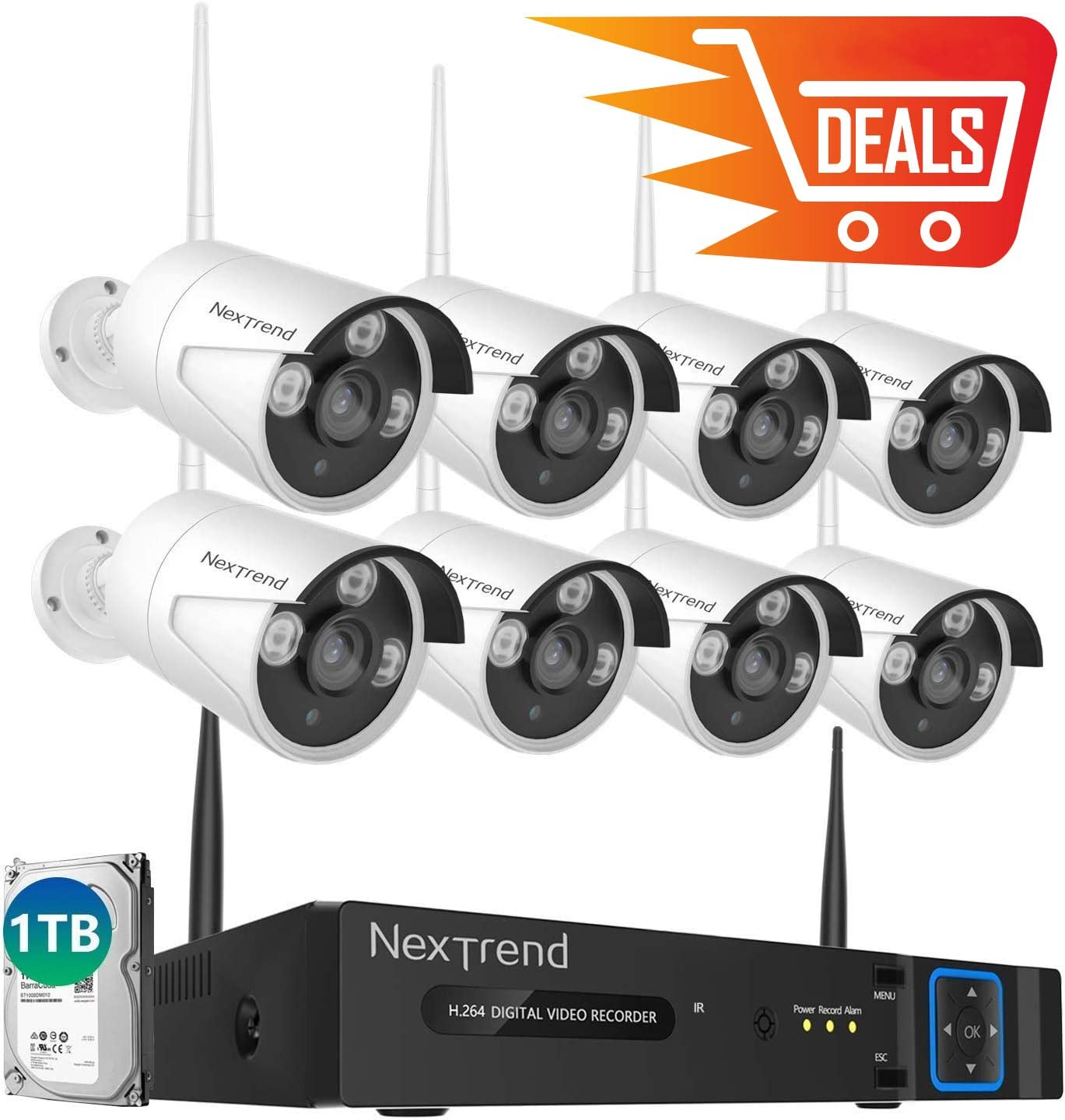 NexTrend Camera Security System Wireless, 8 Outdoor Security Cameras with Night Vision, 8CH NVR Surveillance System with 1TB Hard Drive No Monthly Fee