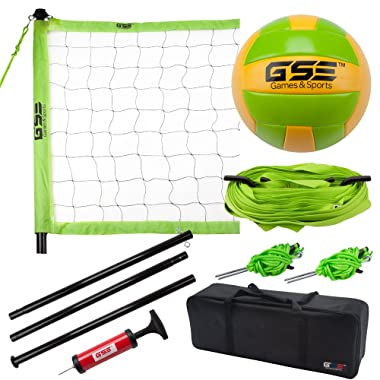 GSE Games & Sports Expert Deluxe Portable Lawn, Backyard, Park and Beach Game Set (Badminton/Volleyball)