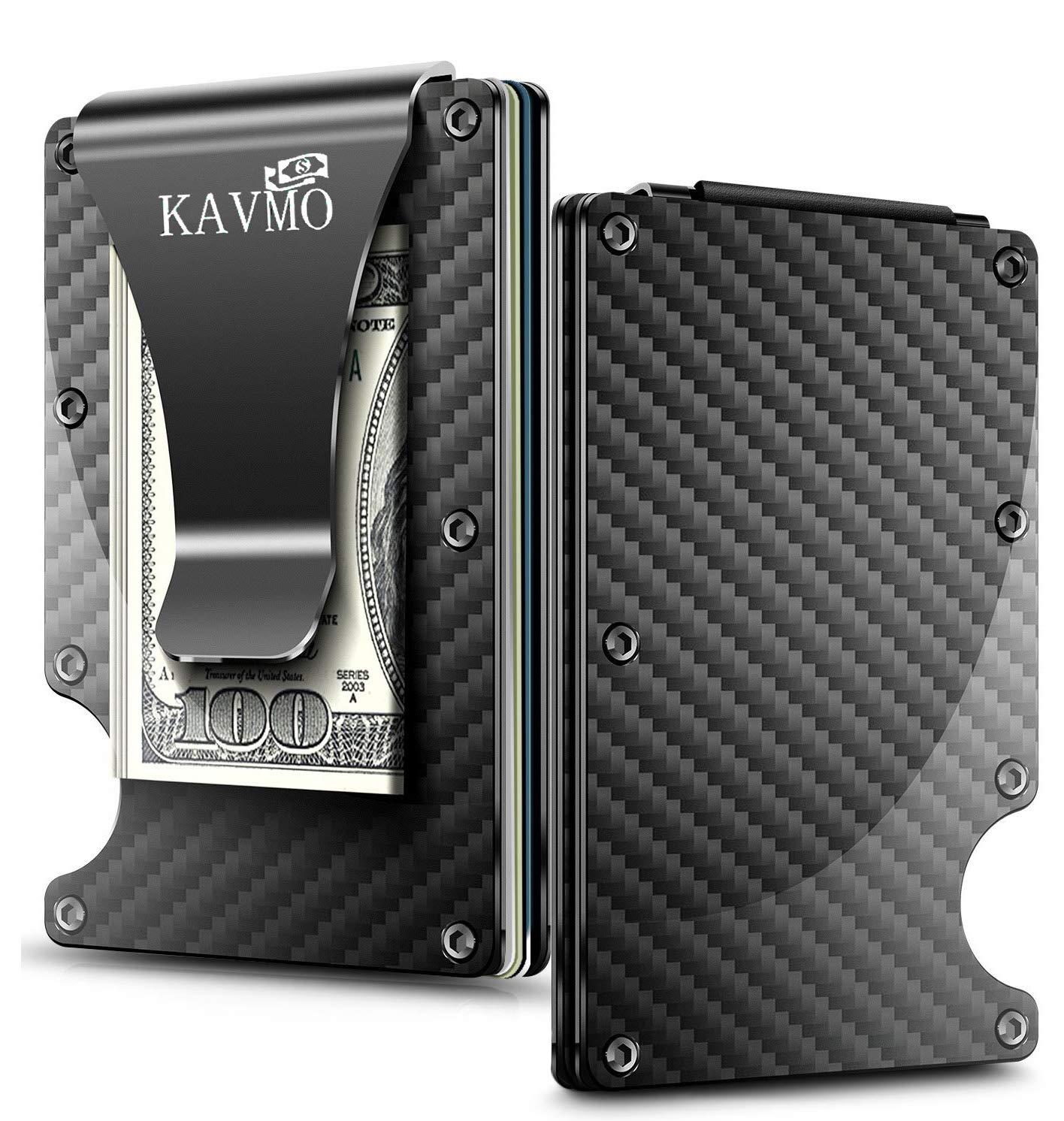 Minimalist Carbon Fiber Wallet, Premium Money Clip & Card Holder, RFID Blocking | Gift for Men and Women.