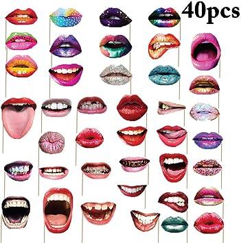 Amazon.com: Fotos de una fiesta prop, Coxeer labios Prop ...