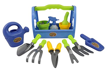 Little Garden Tool Box 14pc Toy Gardening Tools Set For Kids