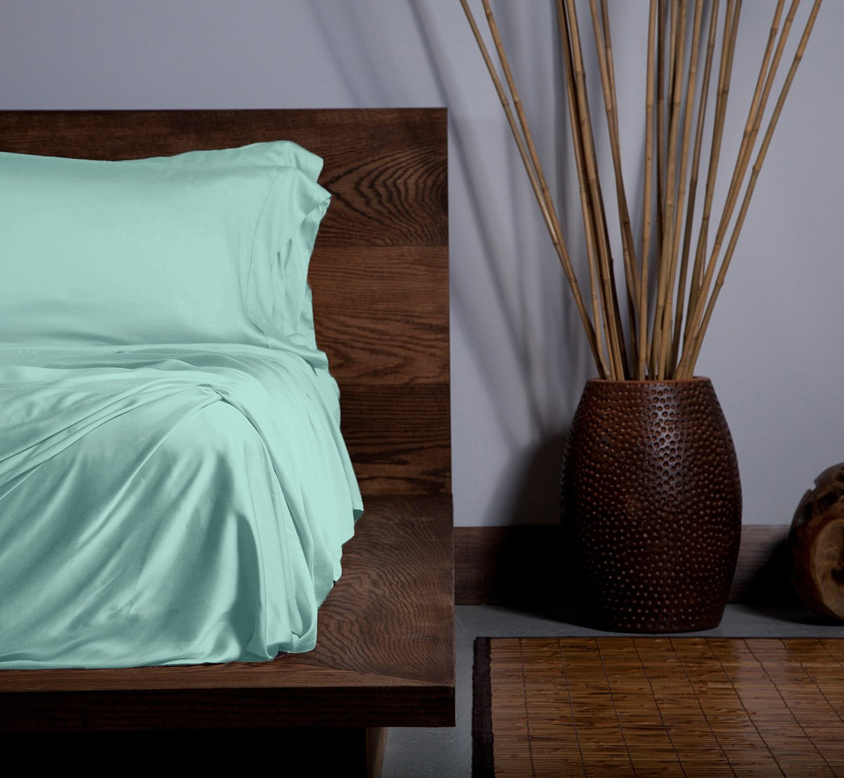SHEEX ECOSHEEX Bamboo Origin Sheet Set with 2 Pillowcases, Amazingly Soft Luxury Sateen Sheets That Adapt to Your Body Temperature for Year-Round Comfort, Aqua (King)