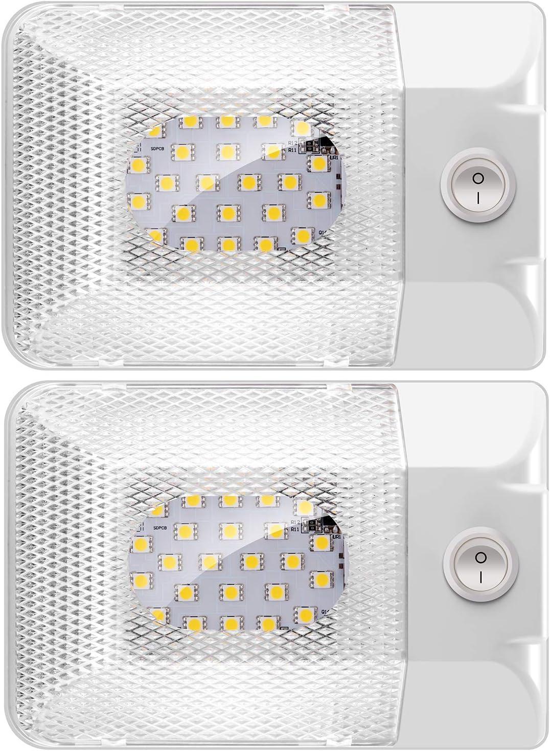 Kriogor Luz Interior Adorno de la Bóveda de Coche Lámpara 12V Blanco del Techo para Autocaravana con Interruptor Camper RV Coche de Turismo Caravana Remolque Barco Camión Yate(2 Piezas)