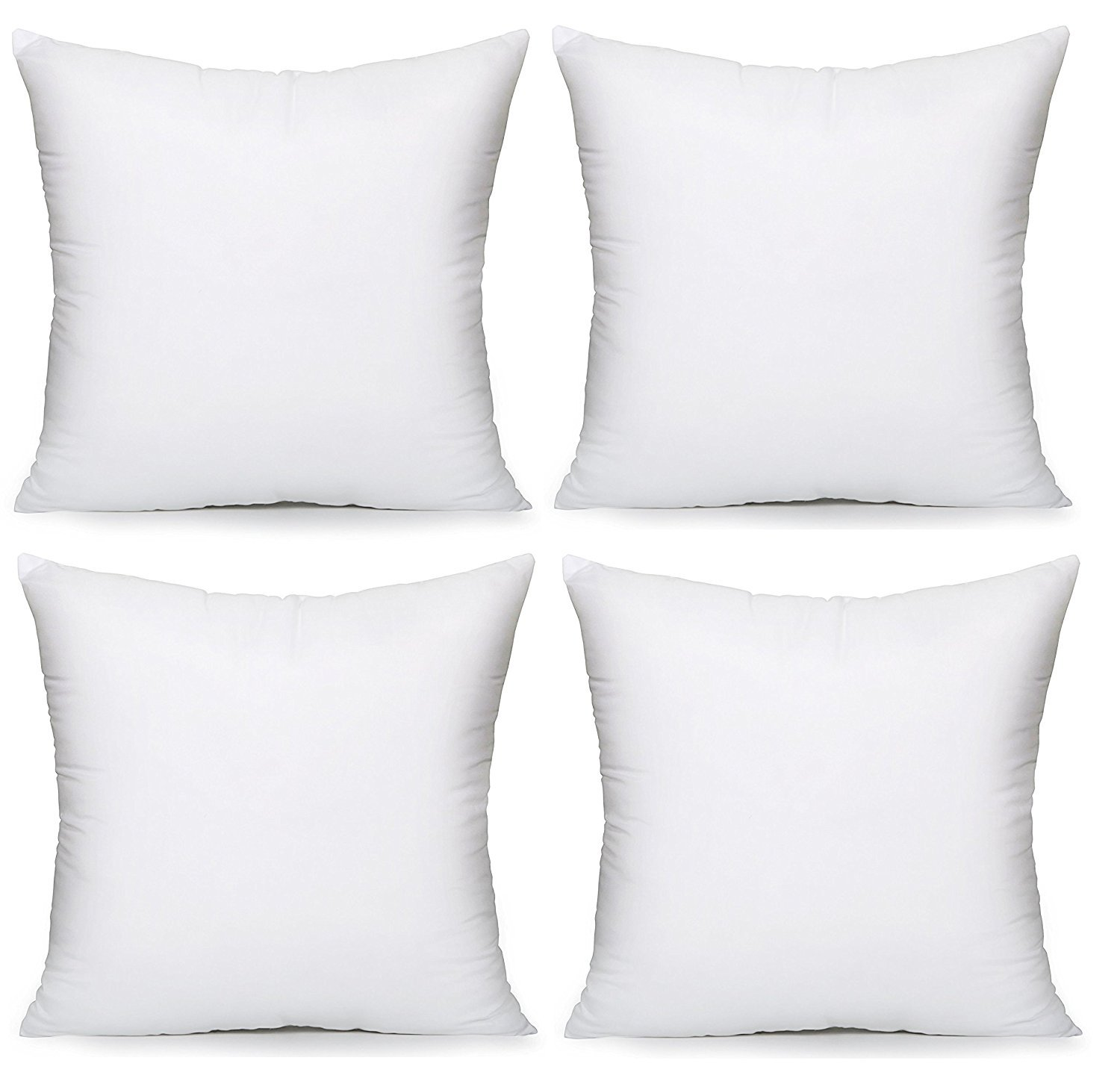 HIPPIH 4 Pack 20 x 20 Pillow Inserts, Hypoallergenic Decorative Square Pillow Form Insert with Zips, White