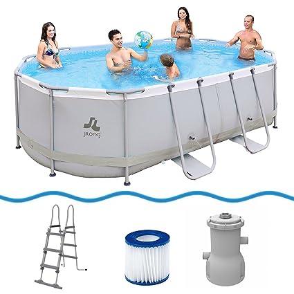 JILONG Oval Swimming Pool Set Passaat Grey 427x275x100cm con Marco de Acero Incl. Filtro y