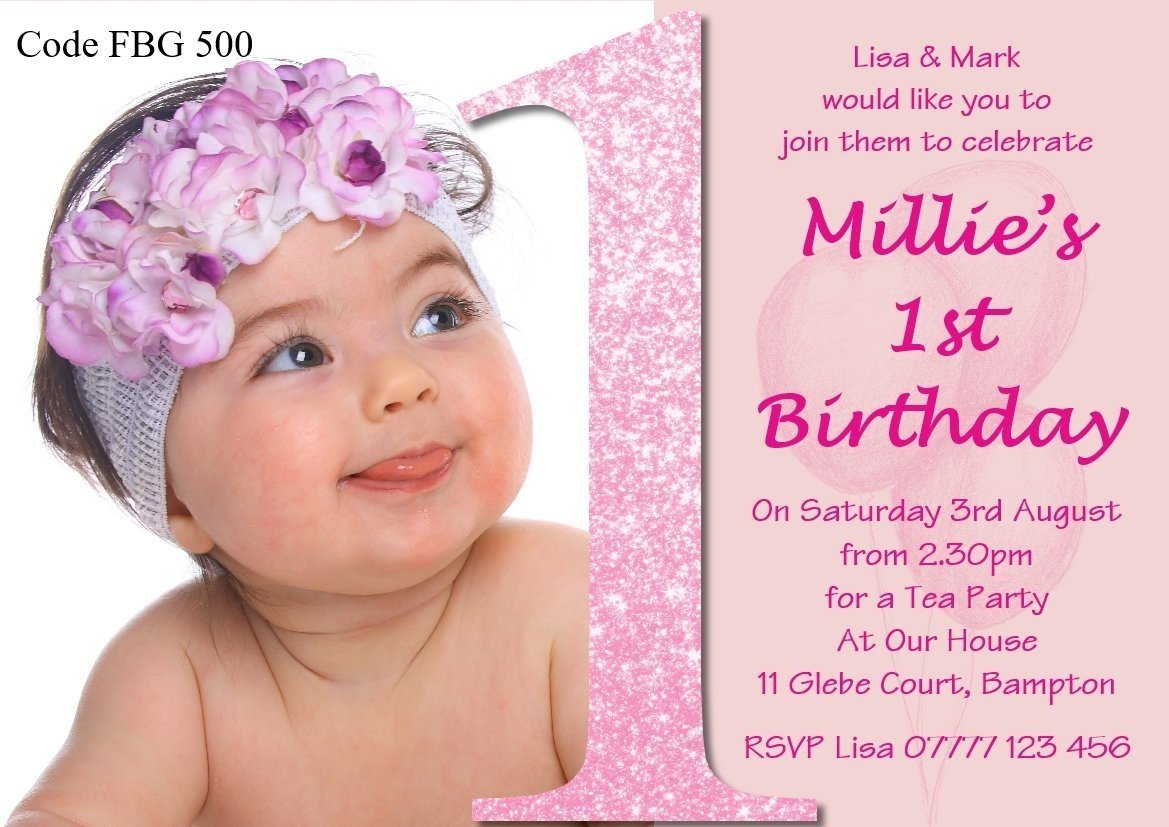 The Invite Factory Personalised Girls First Birthday Party Invitations
