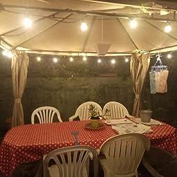 Guirnaldas Luces Exterior 15 metros, Bomcosy g40 Cadena de Luz Exteriores Cadena de Bombillas con 46+4 LED Bombillas Perefcto para Fiesta Boda Jardín Patio Cafe: Amazon.es: Iluminación