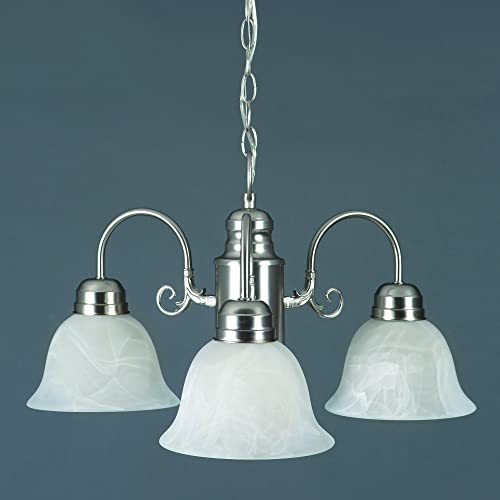 Yosemite Home Decor 1433-3SN Manzanita 3 Light Chandelier, Frosted White Marble Glass Shades, Satin Nickel Finished Frame