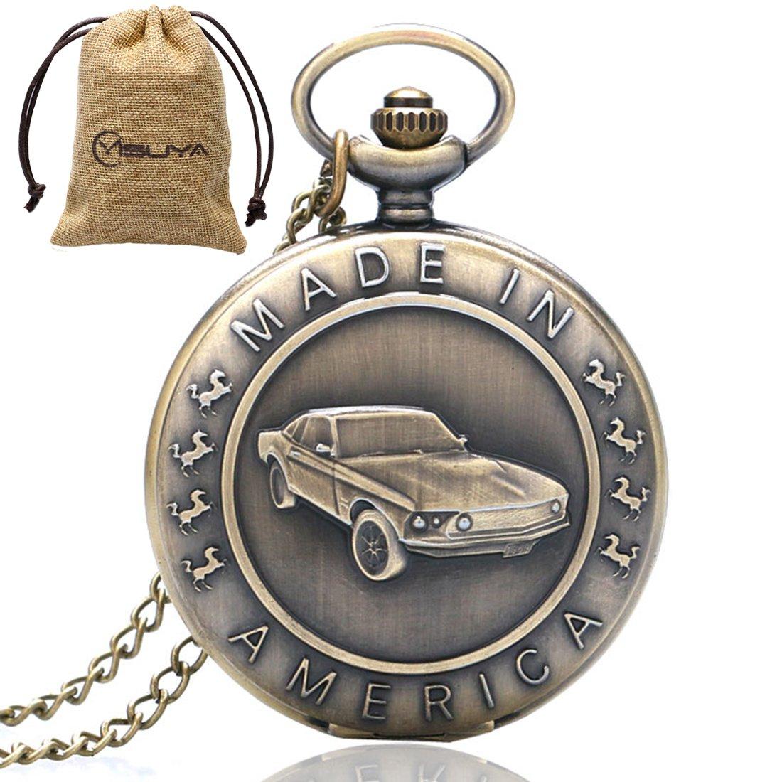 YISUYA Bronze Mustang Pattern Car Quartz Pocket Watch
