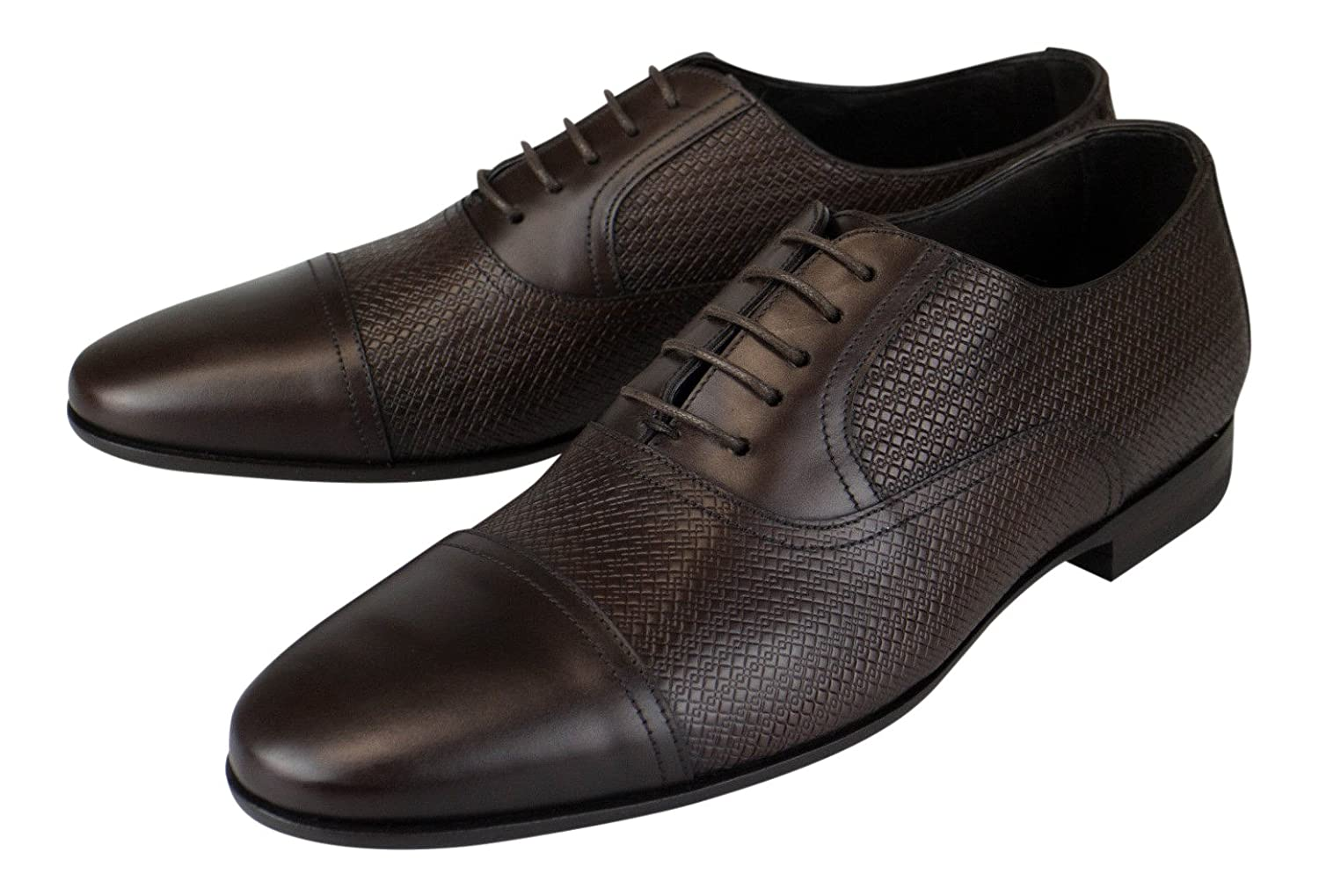 Canali 1934 Brown Leather with Woven Texture Oxford Dress shoes Size 8.5 41.5