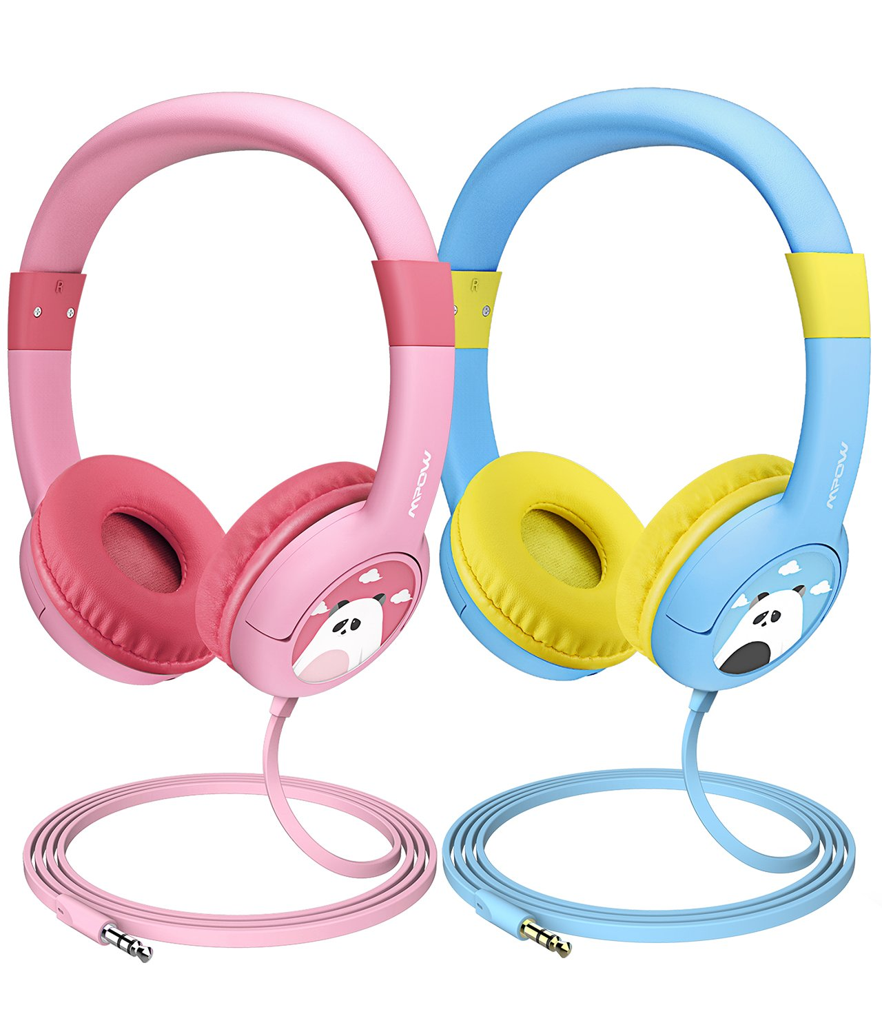 Mpow (2-Pack) Kids Headphones with 85dB Volume Limited Hearing Protection & Music Sharing Function, Kids Safe Food Grade Material, Tangle-Free Cord, Wired On-Ear Headphones for Children Toddler Baby by Mpow