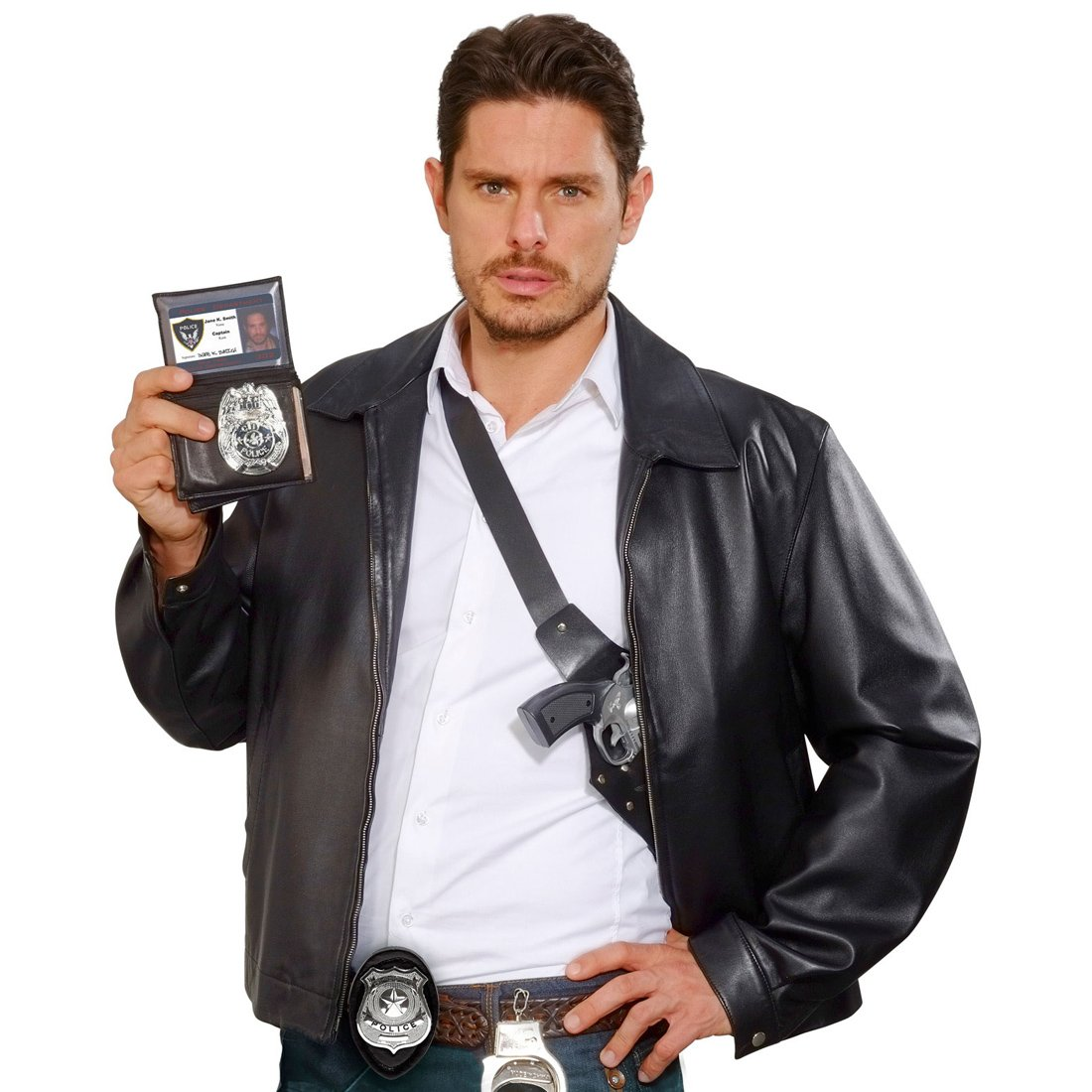 Amakando Distintivo policial Placa de polic/ía Se/ñalizaci/ón de Rango en el Cuerpo de polic/ía Accesorio Disfraz Oficial Marca de polic/ía con Cadena Colgante de Agente de la Ley