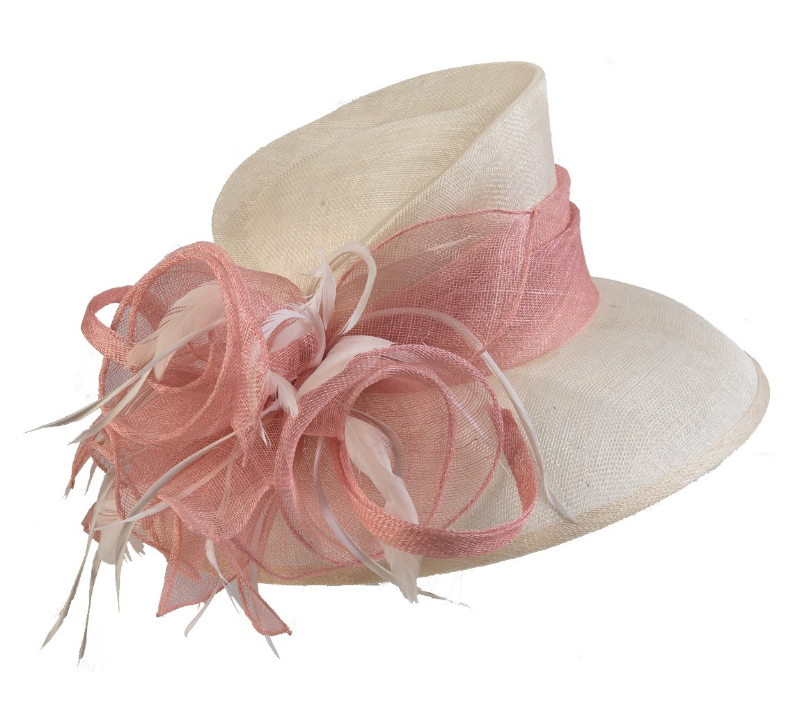 Sinamay Hat 102538-Ivory/Pink by KaKyCo