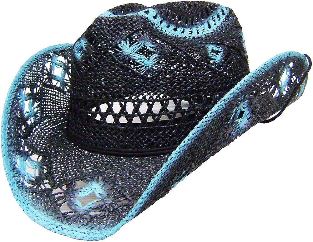 Modestone Womens Straw Cowboy Hat Black Turquoise