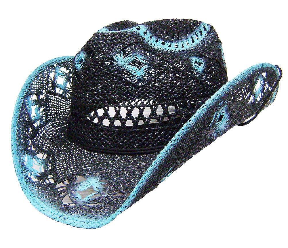 Modestone Women's Straw Cowboy Hat Black Turquoise 5272n