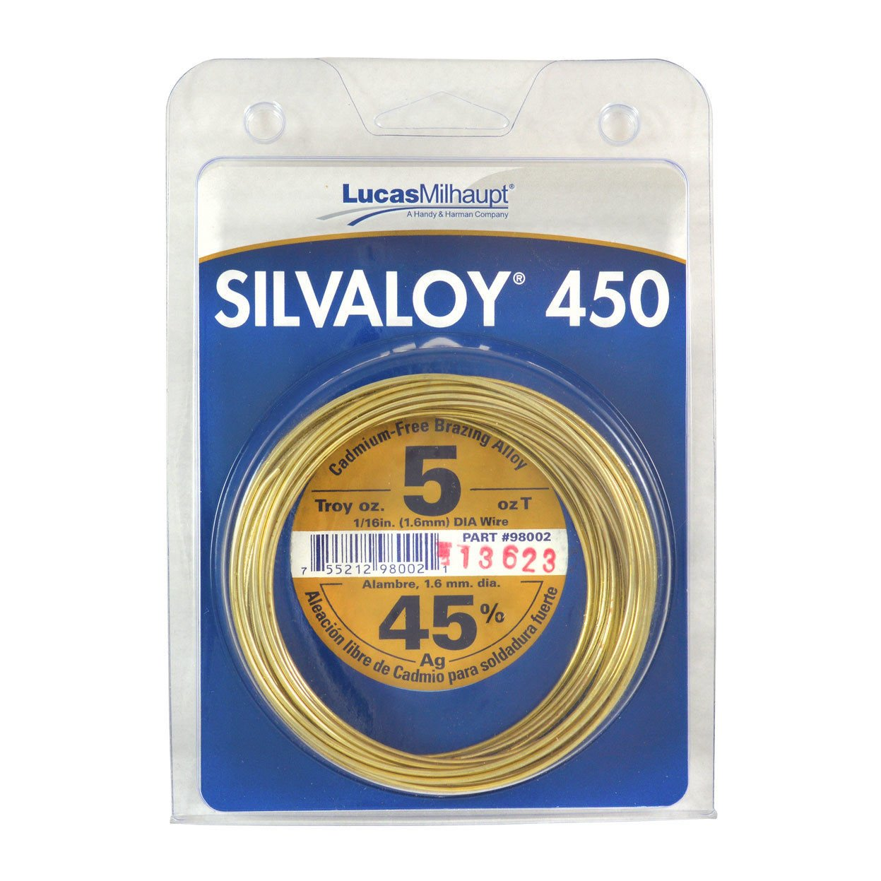 Lucas Milhaupt Silvaloy 450 45% Silver Solder Brazing Alloy 5 oz, 98002