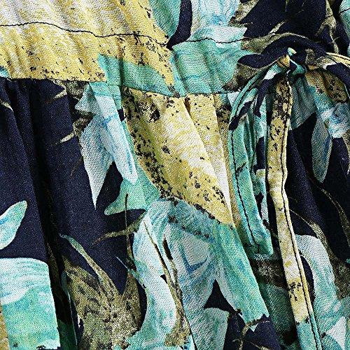 Manches Bohème Imprimé Floral Cordon De Serrage De Fleurs Robe Midi Taille Des Femmes Charmma