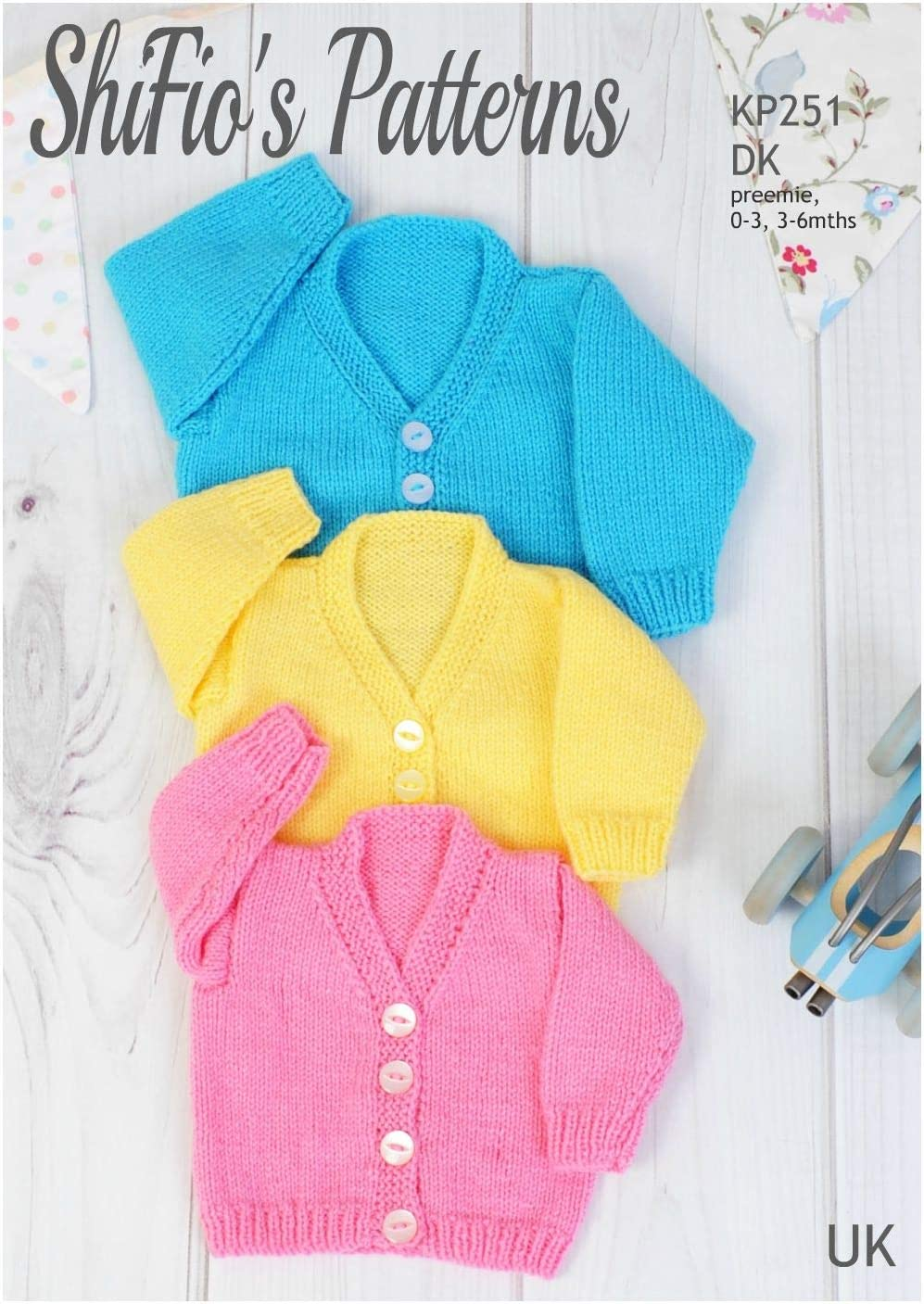 Knitting Pattern for Babies Round Neck Cardigan New-Born - 41cm Baby Knitting Pattern 3-6mths - 51cm Chest 0-3mths - 18 KP590 46cm 20 Double Knitting 16