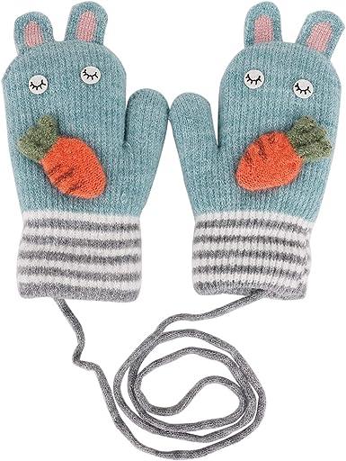 Children/'s Gloves Winter Knitted Cartoon Full Finger Mitten Kids Outdoor Sports