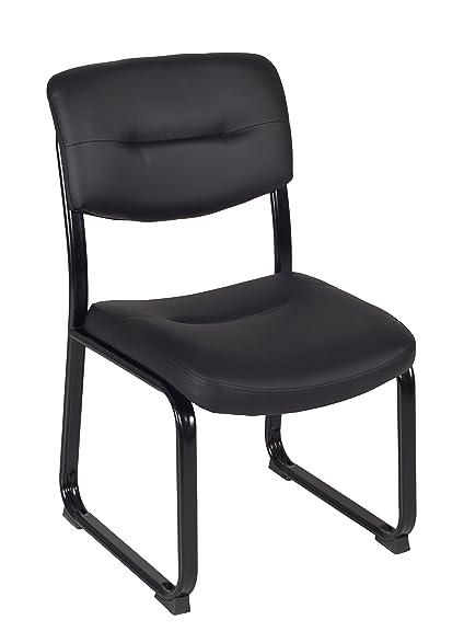 Regency Crusoe Leather Guest Chair, Black