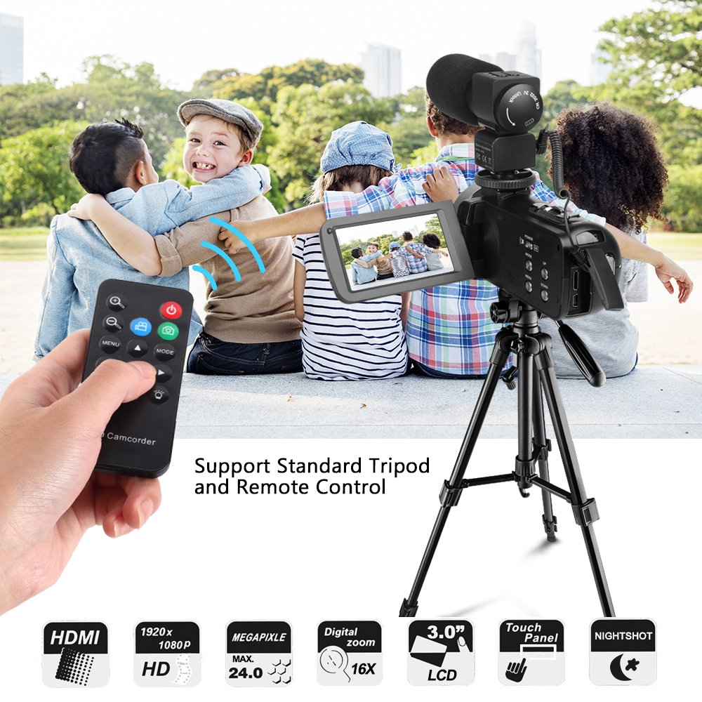 Camera Camcorders, LAKASARA Full HD 1080P 24MP IR Night Vision Video Camera Recorder with 16X Digital Zoom 3 Inch LCD Touchscreen and External Microphone Video Camcorder by LAKASARA (Image #4)