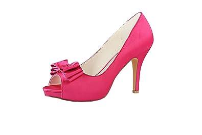 6938990b4de Emily Bridal Rose Wedding Shoes Silk Peep Toe Bow Slip On Bridal Shoes Women  High Heels