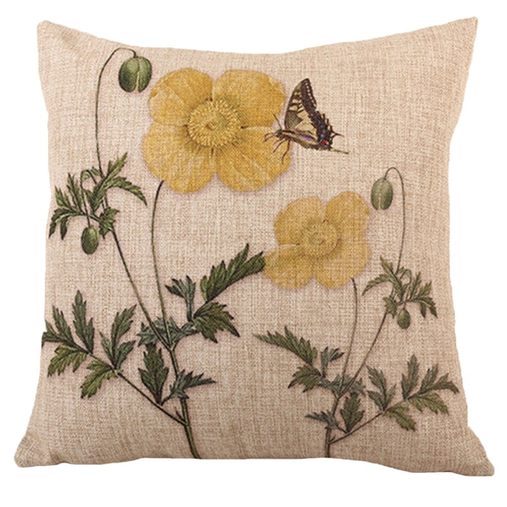 LivebyCare Butterfly Printing Cushion Cover Linen Cotton Cover Throw Pillow Case Sham Pattern Zipper Pillowslip Pillowcase for Lounge Saloon Chair Back Seat Sofa Couch LC/_MY/_A1016-6