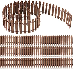 """YG_Oline 4 Pack 35.5"""" Brown Miniature Garden Fence, Fairy Garden Supplies Wood Ornament Miniature Garden Decorations"""