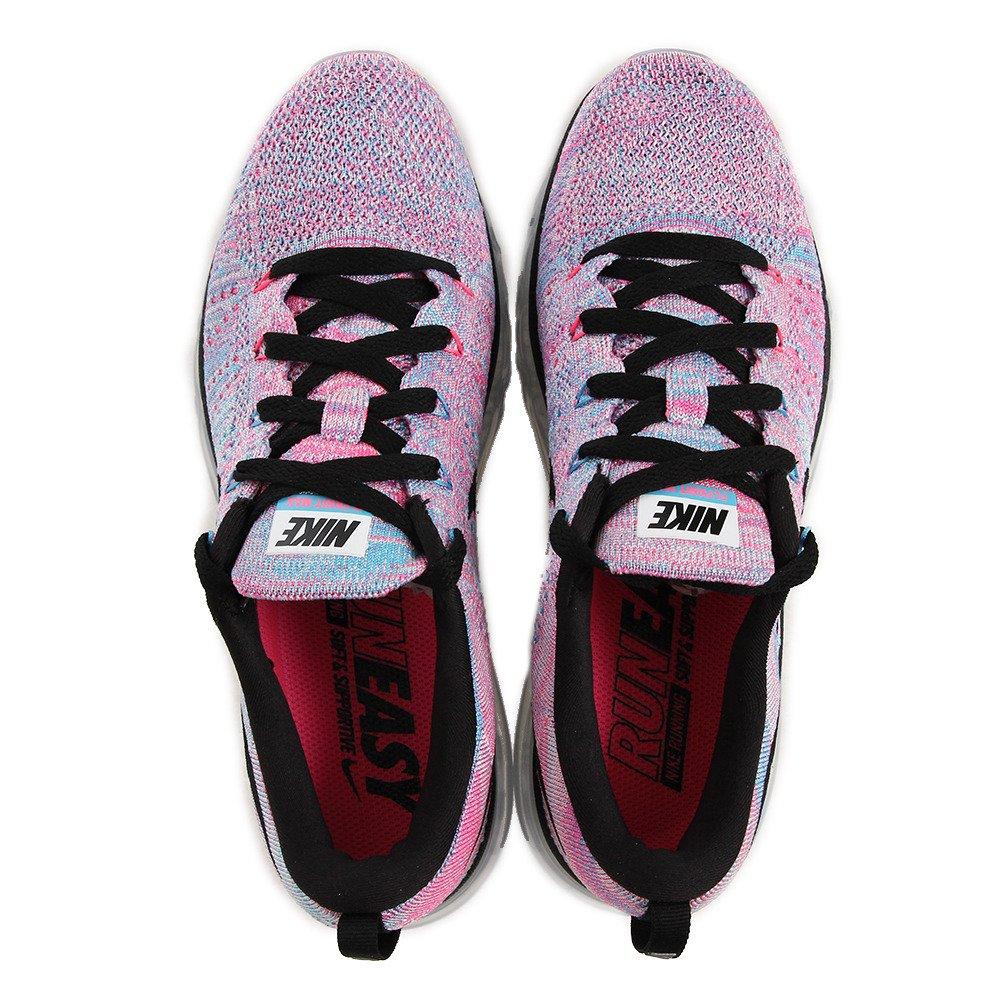 new style 24b64 ddb49 Amazon.com   NIKE Women s WMNS Flyknit Max, White Black-Chlorine Blue-Pink  Blast, 10.5 M US   Road Running