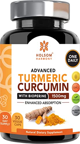Turmeric Curcumin with Bioperine 1650mg Advanced Formula ONE Daily, Joint Pain Relief Anti Inflammatory Supplement with Black Pepper for Best Absorption.Non-GMO, Natural, Made in USA, 30 Pills