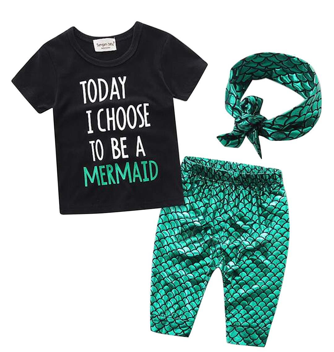 EGELEXY Kids Girls Summer Ruffle Shirts Sequin Mermaid Short Pant Outfits with Headband Size 12-24 Months (Green)
