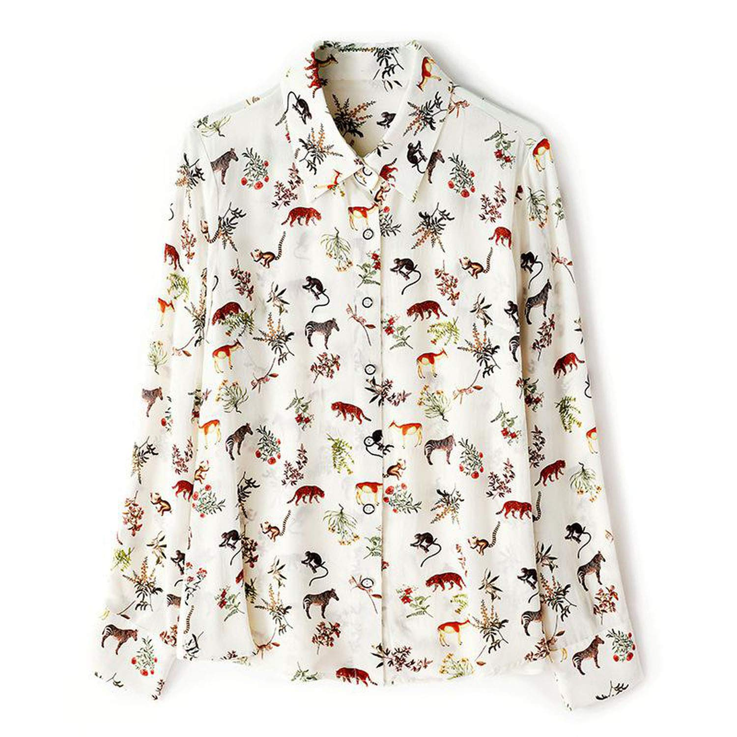 White Natural Silk Blouses Woman 2019 Spring Animals Print Long Sleeve Single Breasted Vintage Retro