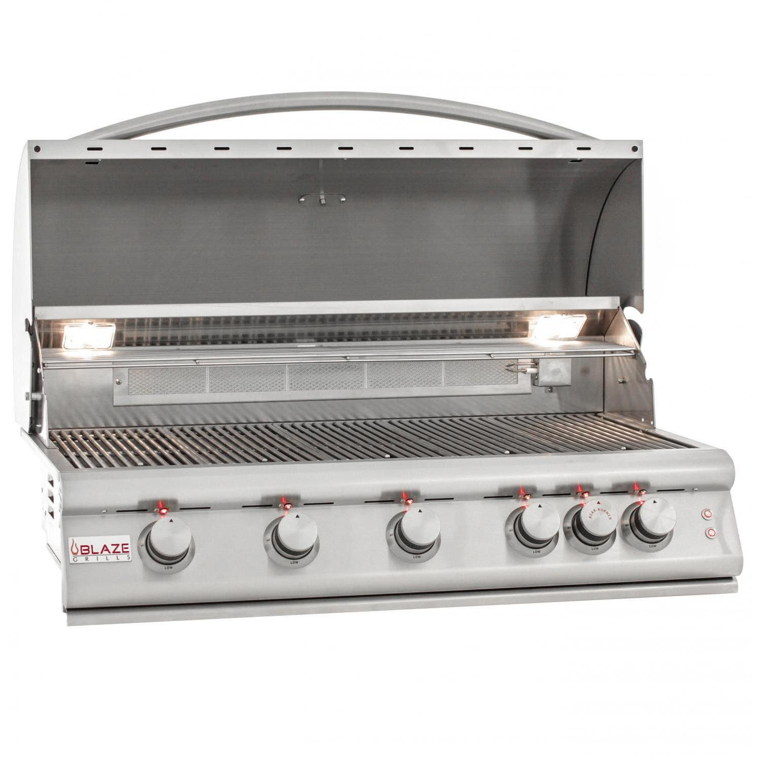Blaze Lte 40-inch 5-burner Built-in Propane Gas Grill With Rear Infrared Burner & Grill Lights - Blz-5lte2-lp