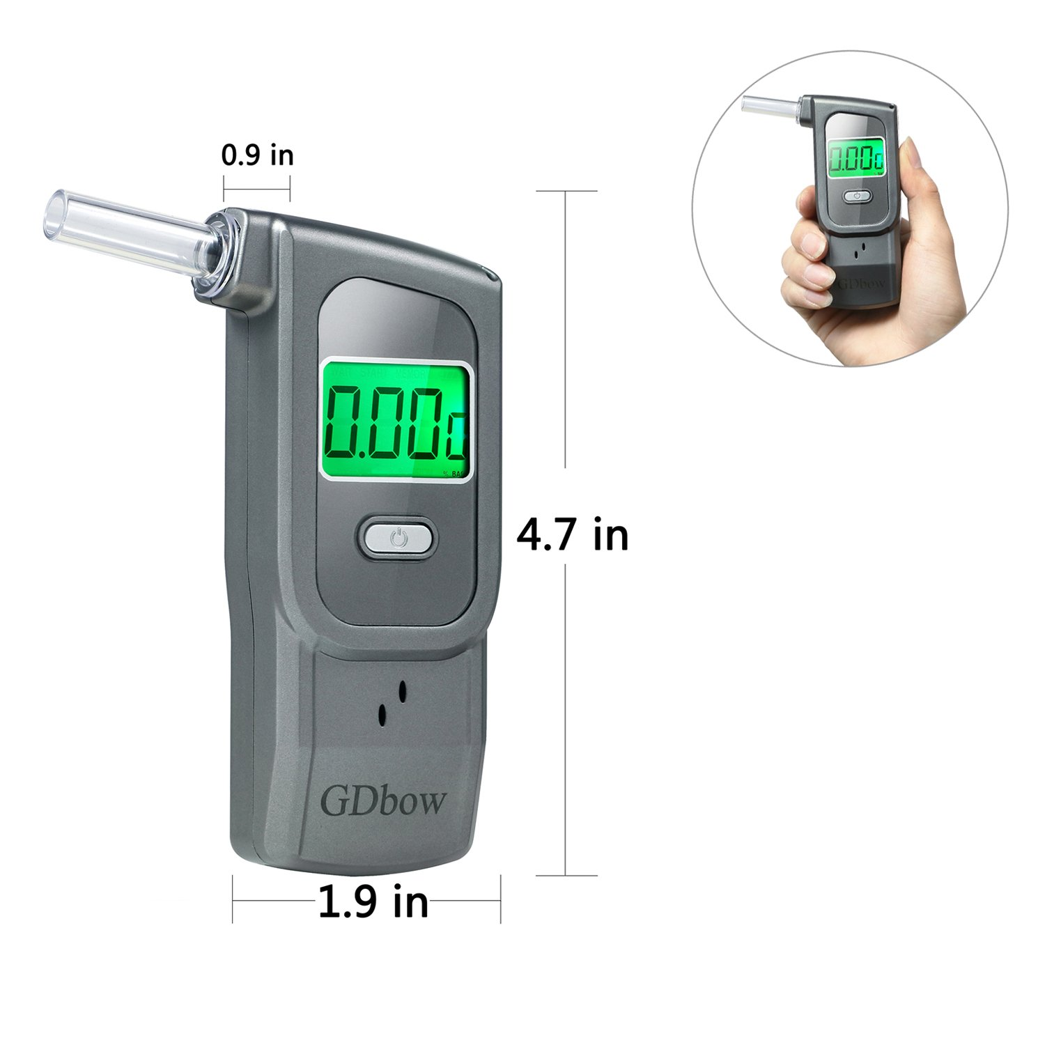GDbow PortableBreathalyzer AlcoholTester Recording 32 Testing Results with 5 Mouthpieces for Personal Use -Grey by GDbow (Image #6)