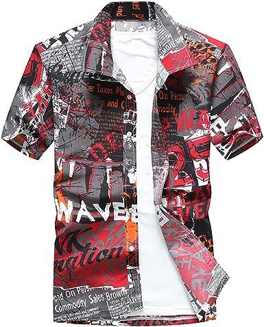 CAOQAO Camisas Hombre Manga Corta Camisa Hawaiana Hombre ...
