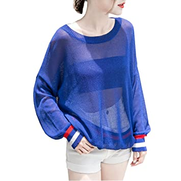 LQABW Summer New Blusa Femenina Top Cutout Stripe Loose Camiseta De Manga Larga A Prueba De