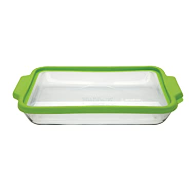 Anchor Hocking 3-Quart Glass Baking Dish with Green TrueFit Lid